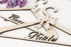 Wedding Dress Hanger, Wedding Hanger, Bridal Hanger, Bride Hanger, Bridesmaid Hangers, Wedding Shower Gift, Groom Hanger,  SET OF 2