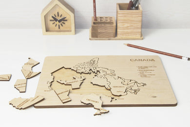 Wood toy toddler, Wood toy gift, Montessori toys, Wooden puzzle, Motor skills toys, Canada map