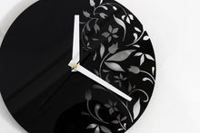 Load image into Gallery viewer, Black Wall Clock - Flower Wall Clock - Living Room Wall Clock - Acrylic Glass Wall Clock