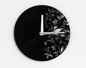 Black wall clock, Floral wall clock, Acrylic  glass clock, Living room clock, House wall decor