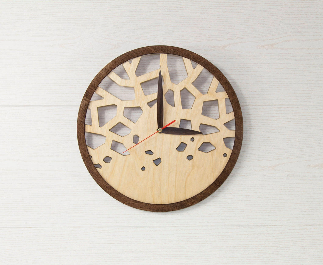 Modern Clock Wooden  - New House Gift - Wall Clock Wooden - Unique Wall Clock - Wooden Clock Gift