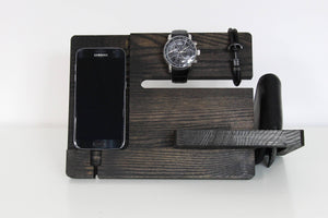 Wood docking station, Charging station organizer, Christmas gift for husband