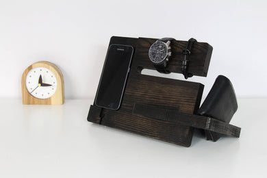 Wood docking station, Charging station organizer, Christmas gift for husband, Hotel room accessory
