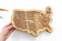 Load image into Gallery viewer, Busy Board, Activity Board,  Labyrinth, Maze Runner, Wooden Toy, Educational Toy, USA,  Kids Gift