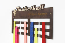 Load image into Gallery viewer, Basketball, Medal Hanger, Basketball Gifts, Medal Display, Medal Rack, Medal Holder, Kids Wall Art, Basketball Coach Gift, Basketball Mom