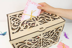 Wedding Card Box, Wedding Card Holder, Card Box For Wedding, Money Box, Wedding Box, Card Box, Wedding Card, Laser Cut Box, Cards Box