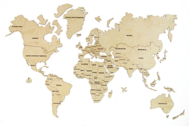 Wooden World Map,Rustic Office Decor, Wooden World Map Wall Art, World Map Wall Decal