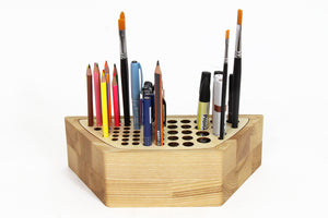 Pen Stand, Pen Holder Wood, Wooden Pencil Holder, Wood Desk Organizer, Brush Holder