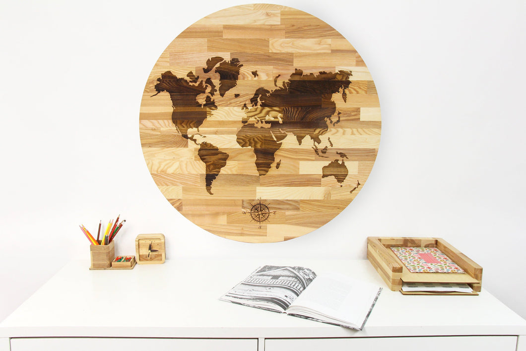 Large World Map, Rustic Office Decor, Wood World Map,Wooden World Map Wall Art