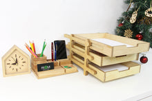 Load image into Gallery viewer, Husband Christmas Gift, Wood Desk Organizer, Boyfriend Christmas Gift, Office Desk Accessories