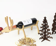Load image into Gallery viewer, Wine lover gift, Best frined Christmas gift, Wooden bottle holder, Christmas decorations rustic