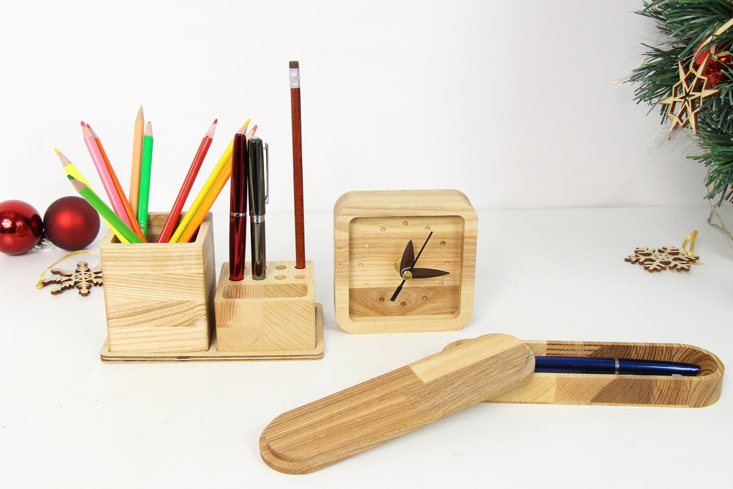 Girlfriend Christmas Gift,Husband Christmas Gift, Wooden Desk Organizer, Wooden Pen Holder