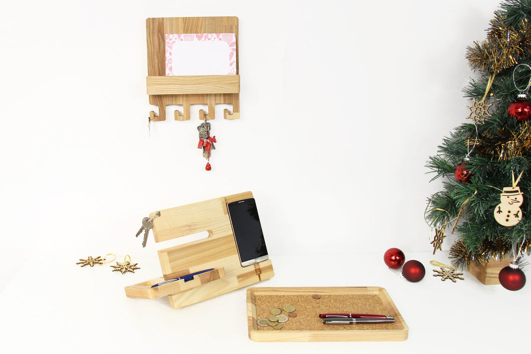 Wood docking station, Charging station organizer, Mail and key holder, Catchall tray, Christmas Gift Set