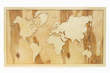 Load image into Gallery viewer, Large world map, Wooden World Map Wall Art, Wooden World Map, Rustic Office Decor, Wood World Map