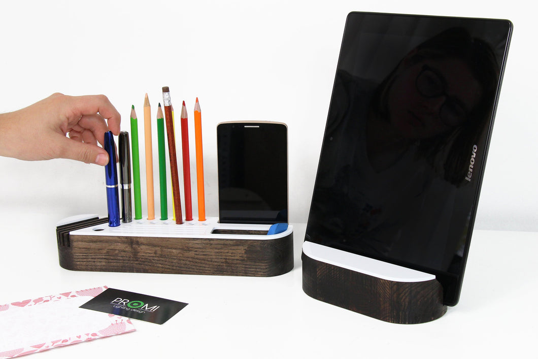 Desk organizer set with tablet holder Wood phone stand Wooden desk organizer Wood desk aceesories