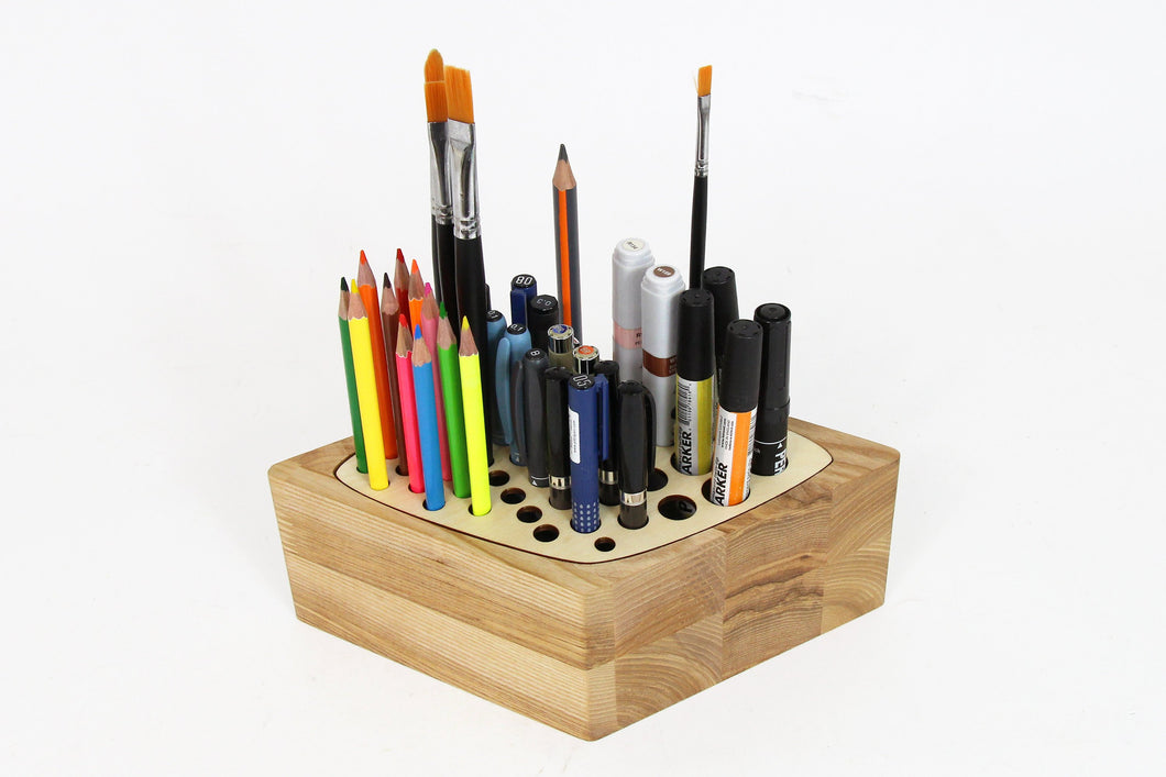 Wood Desk Organizer, Pen Stand, Wooden Pencil Holder, Wood Pen Holder