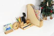 Load image into Gallery viewer, Office Desk Accessories, Husband Christmas Gift, Boyfriend Christmas Gift, Wood Desk Organizer