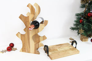Wood Wine Rack, Christmas Gifts for Parents, Girlfriend Christmas Gift, Ottoman Tray, Breakfast Tray
