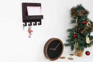 Rustic wall clock, Mail and key holder, Christmas gift set, Entryway organizer