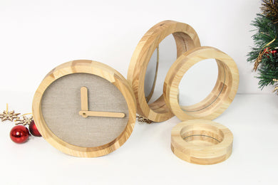 Wooden wall clock, Wall mirror, Christmas gift set, Farmhouse mirror,Christmas Gifts for Parents