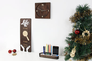 Christmas Gifts for Parents, Rustic Wall Clock, Wood Desk Organizer, Christmas Gift for Mom
