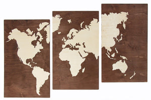 Wood World Map, Wooden World Map, Rustic Office Decor, Wooden World Map Wall Art