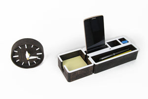 Wood desk organizer set with desk clock Wooden desk organizer Wood desk accessories Wood phone stand