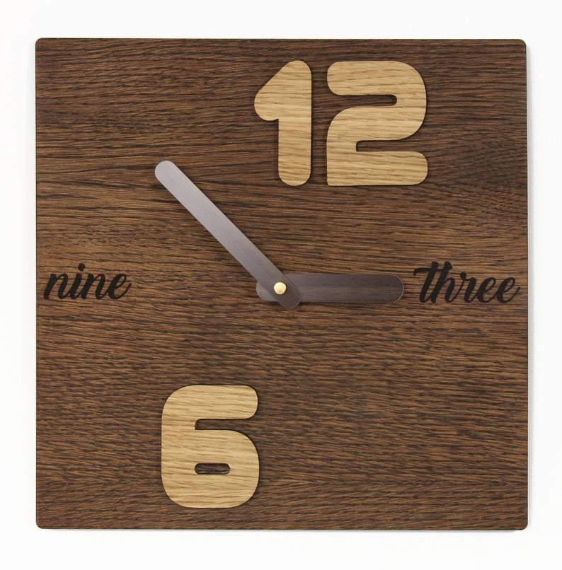 Minimalist clock,  Wooden clock, Industrial clock, Wooden wall clock, Vintage look