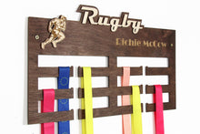 Load image into Gallery viewer, Rugby Medal hangers Personalized medal hanger Medal display Rugby gifts