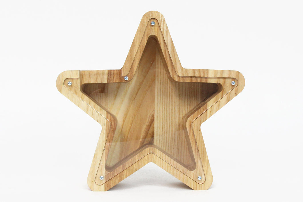 Star shaped piggy bank Money bank for kids Challenge coin display