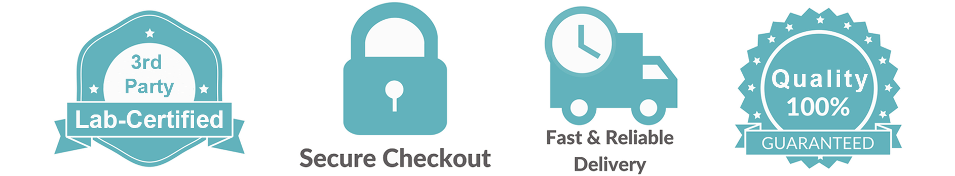 Badge icons for lab-certified CBD, secure check-out, fast delivery, and quality guarantee