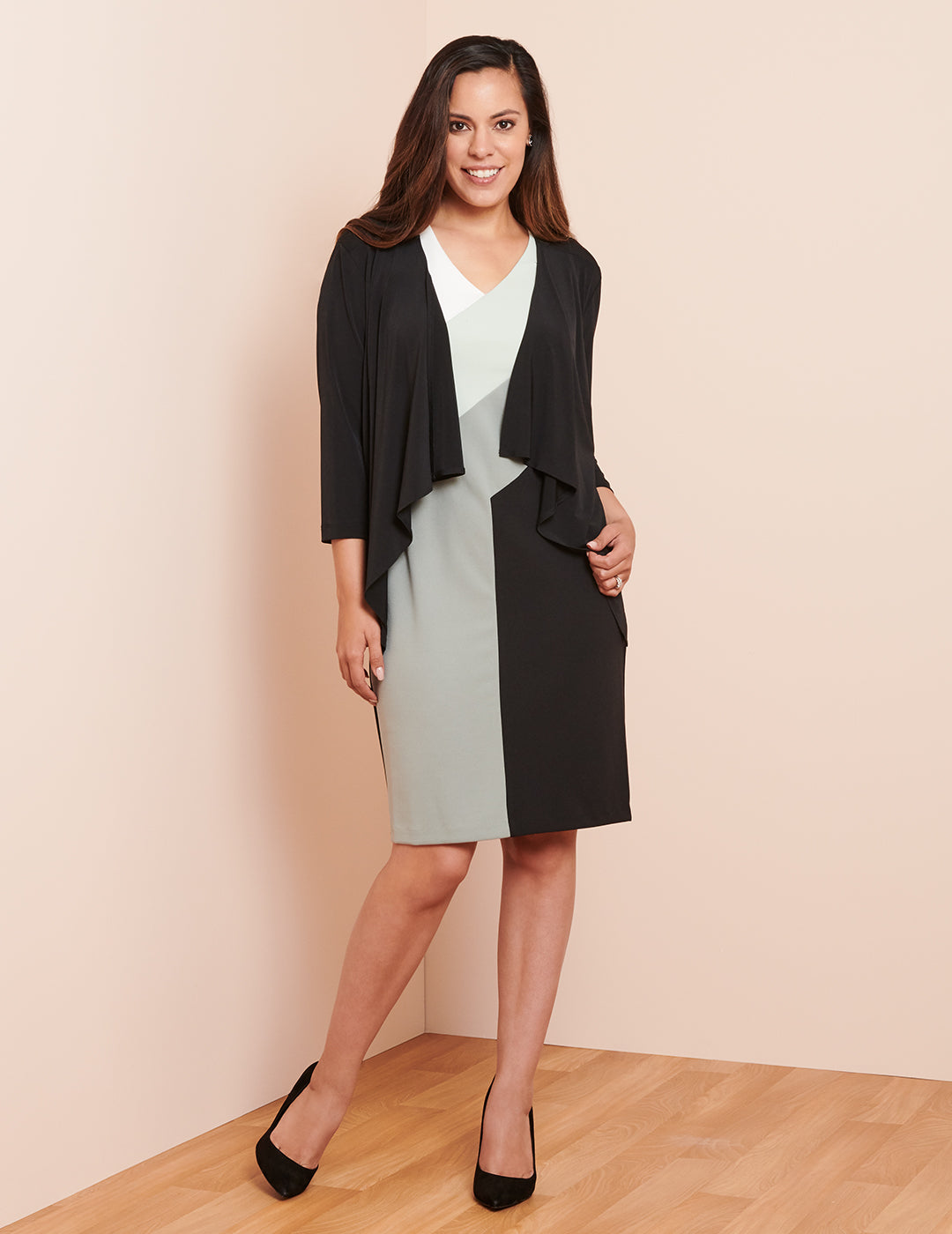 The Anika Color Block Dress with Ruth Jacket | Connected Apparel