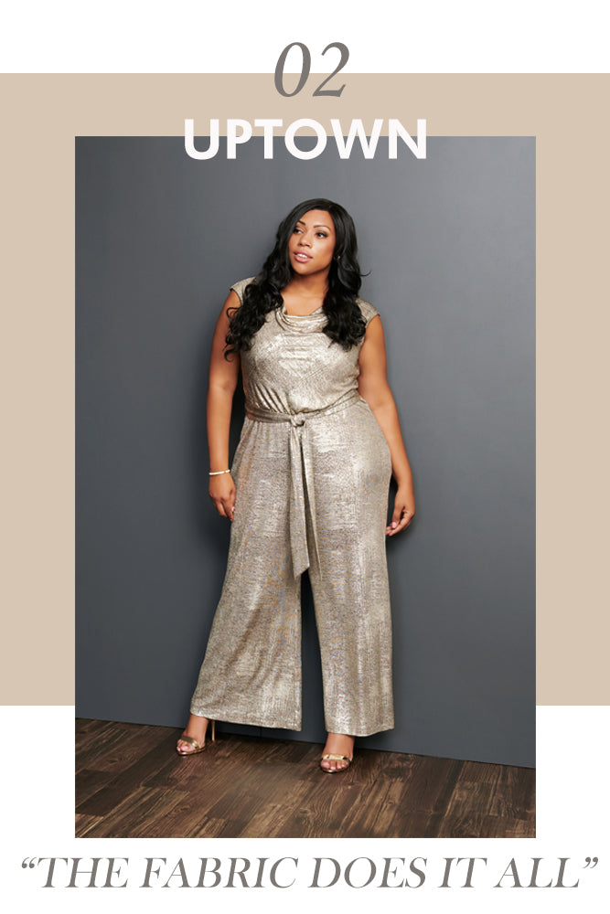The Uptown Stretch Metallic Knit Jumpsuit | Connected Apparel