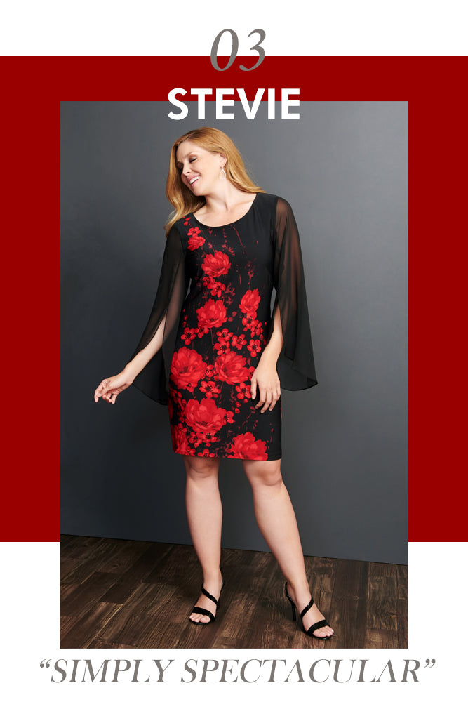 Stevie Red Floral Placement Print Dress | Connected Apparel