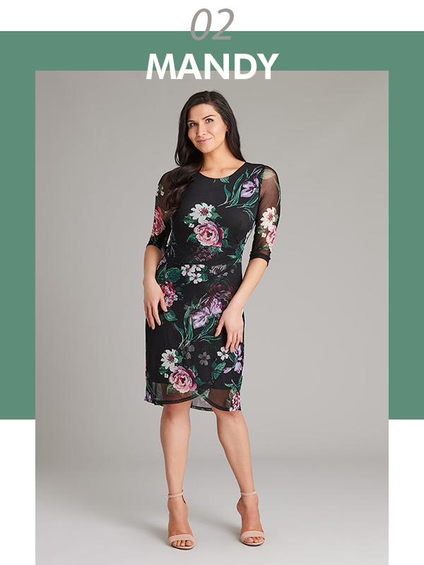 The Mandy Elbow Sleeve Floral Print Dress | Connected Apparel