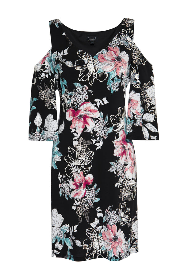 Black Ally Floral Print Cold Shoulder Dress from Connected Apparel on ghost mannequin form
