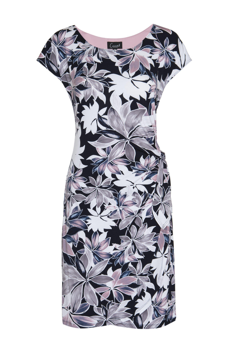Mauve Ari Floral Print Dress from Connected Apparel on ghost mannequin form