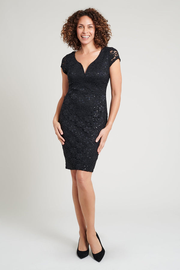 Black sequin special occasion lace dress from Connected Apparel