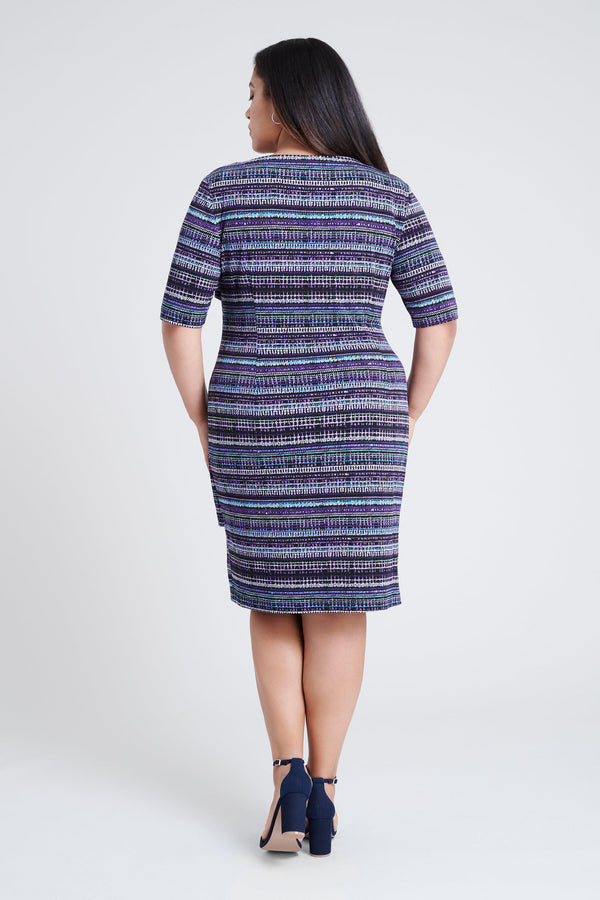 woman-wearing-connected-apparel-Brandy Purple Asymmetrical Striped Dress-posing-on-plain-background