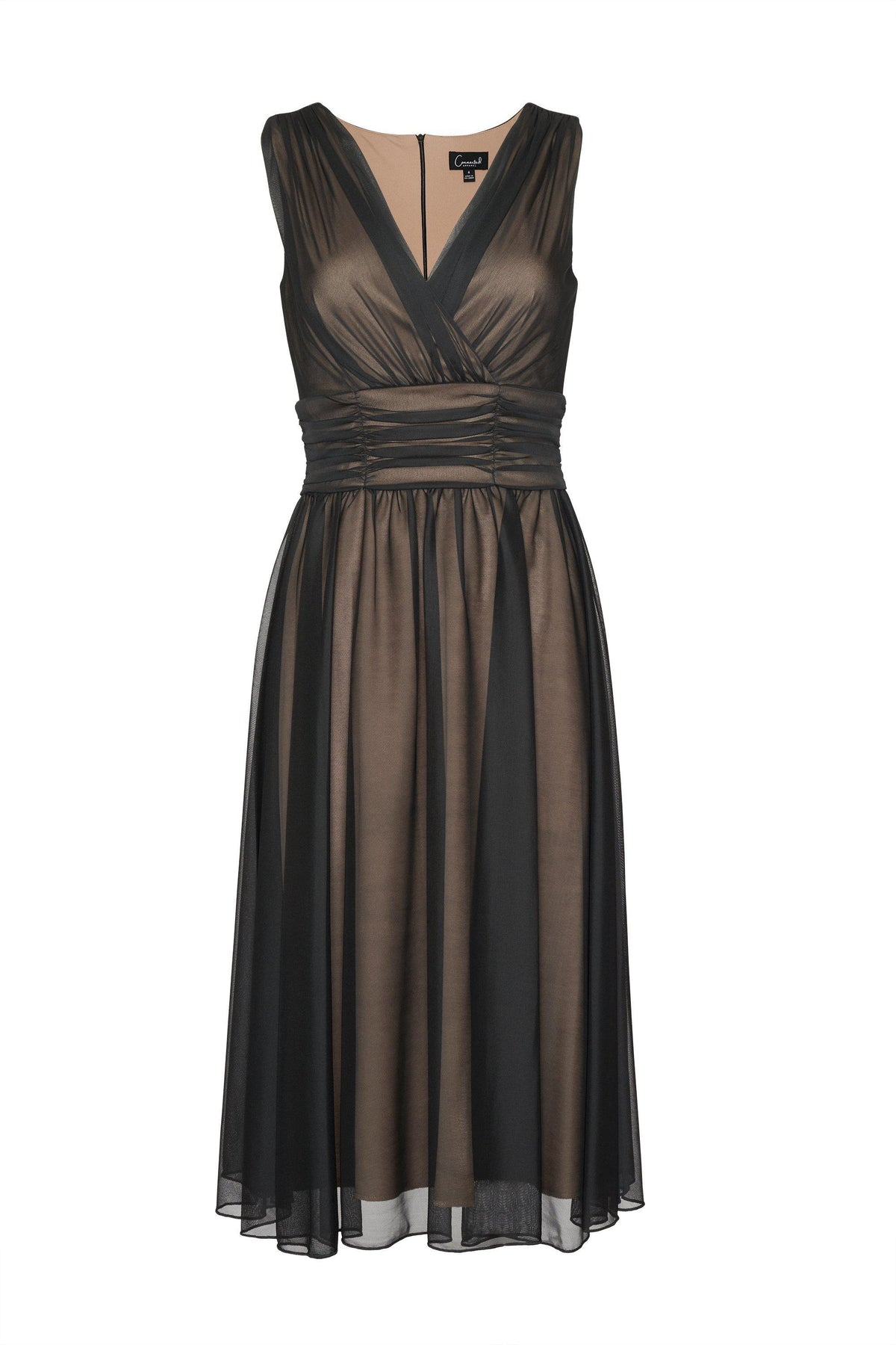 Woman posing wearing Black/Gold Cora Sleeveless A-Line Midi Dress from Connected Apparel