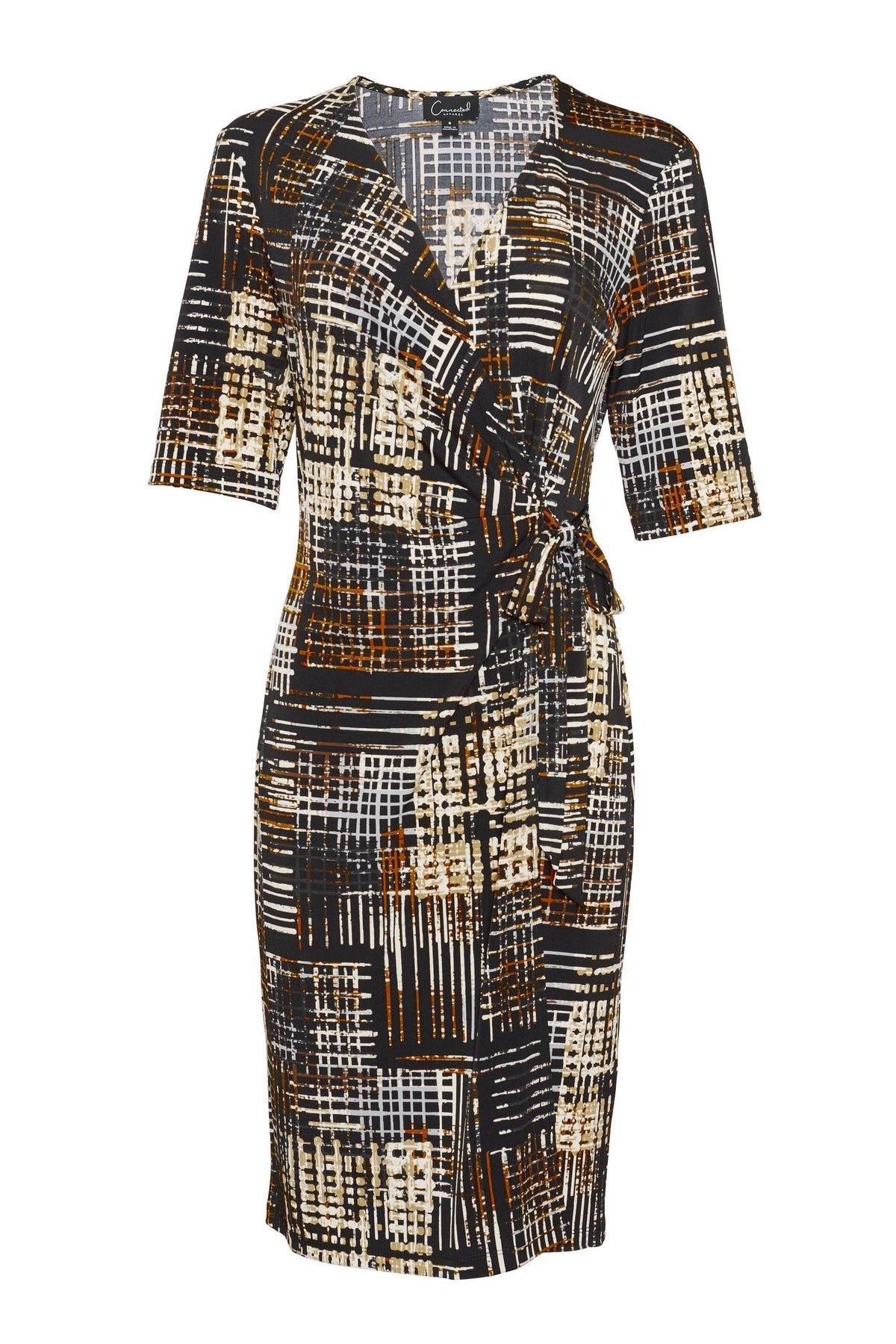 Woman posing wearing - Diane Abstract Print Knee Length Wrap Dress from Connected Apparel