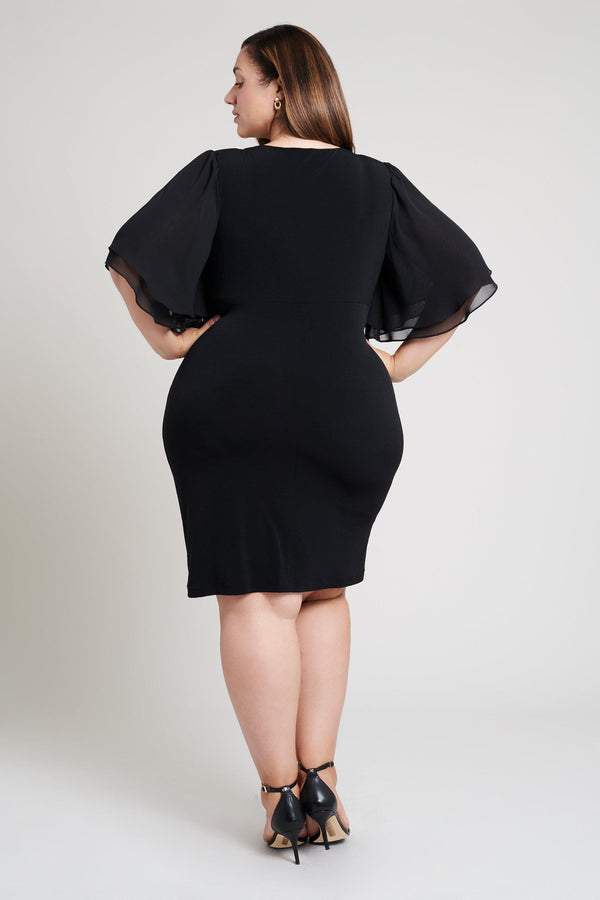 butterfly sleeves black dress plus size back