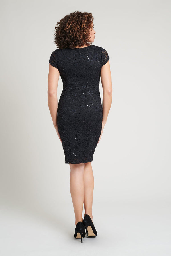 Black sequin special occasion lace dress back from Connected Apparel