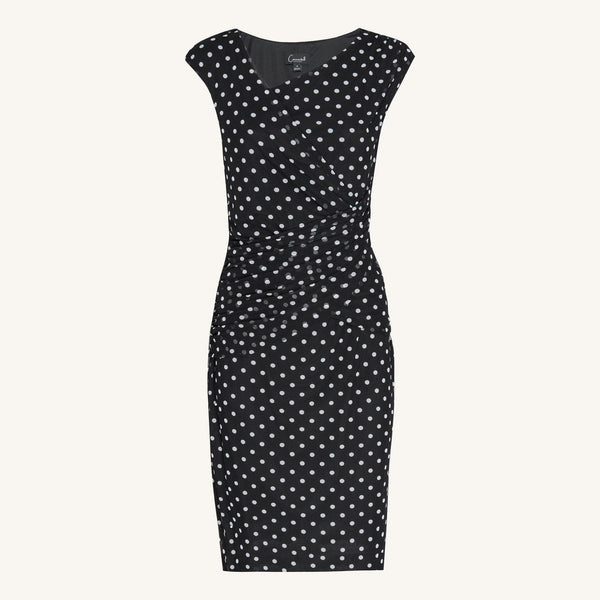 Black Jamie Polka Dot Dress from Connected Apparel on ghost mannequin form