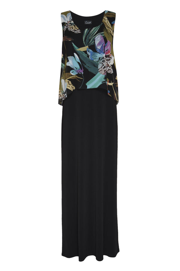 Black Jill Tropical Print Maxi Dress from Connected Apparel on ghost mannequin form