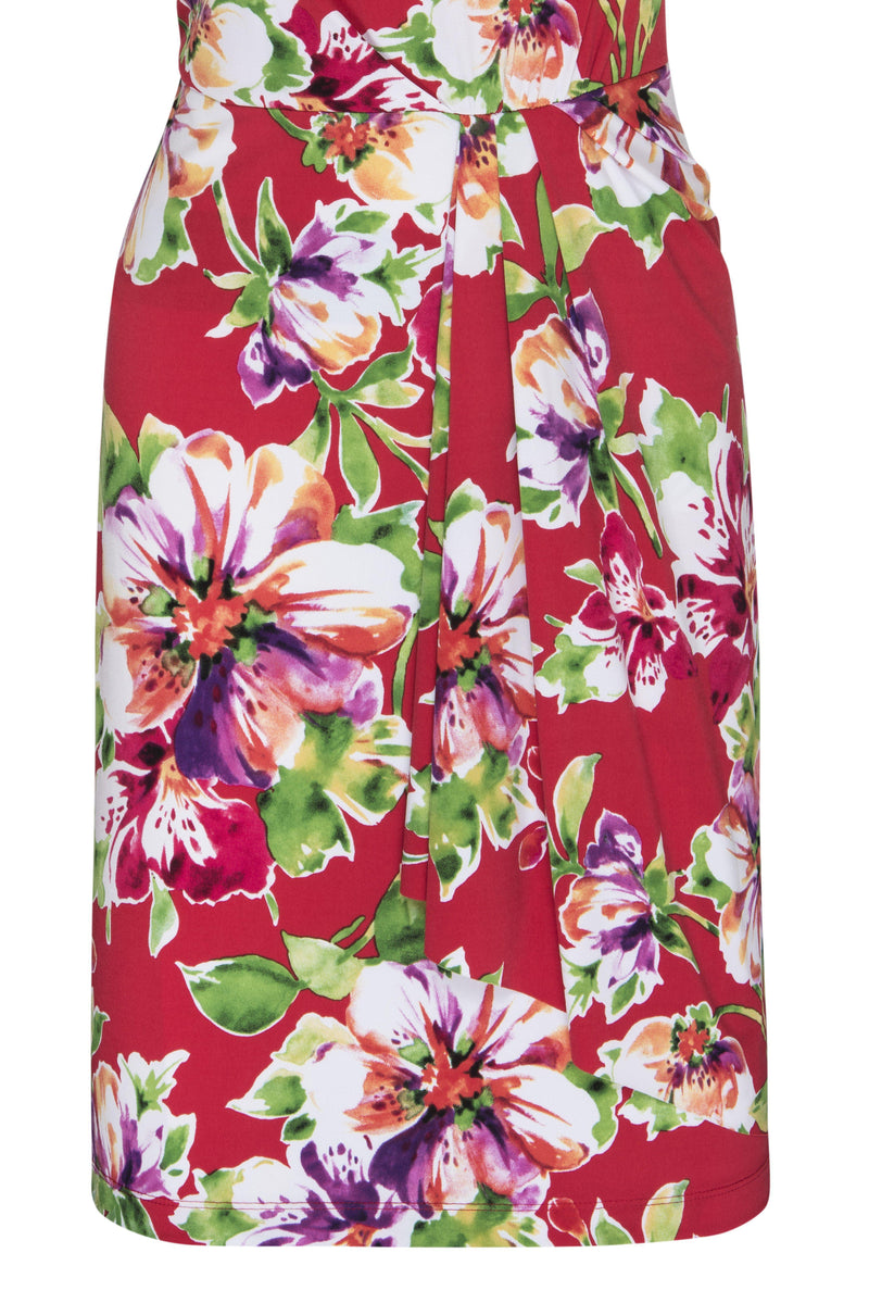 Red June Red Floral Print Sleeveless Dress from Connected Apparel on ghost mannequin form