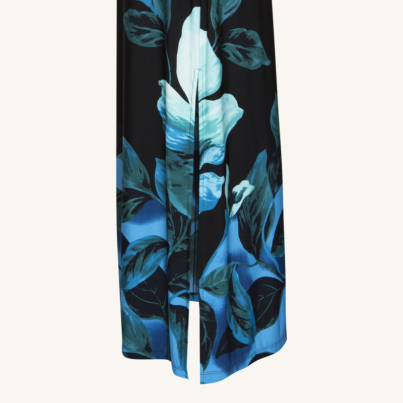 Teal Kai Teal Floral Print Maxi Dress from Connected Apparel on ghost mannequin form