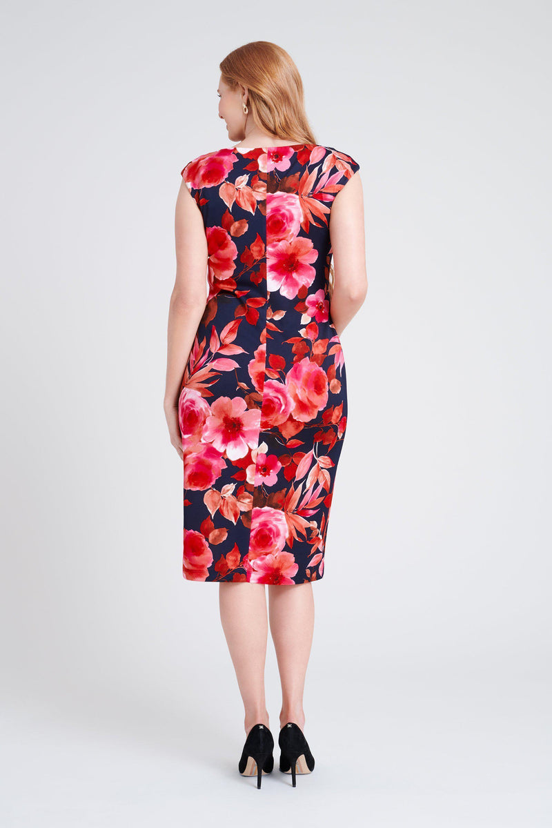woman-wearing-connected-apparel-Kayla Fuchsia Floral Print [PRE-ORDER]-posing-on-plain-background