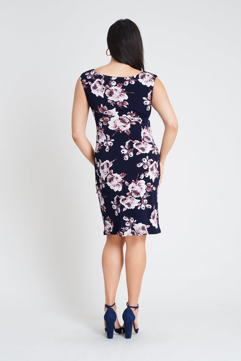 Woman posing wearing Rosewood Lisa Rosewood Floral Print Dress from Connected Apparel