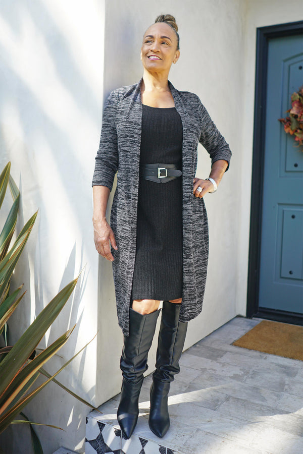 Woman posing wearing Charcoal Lori Sweater Knit Jacket Dress from Connected Apparel